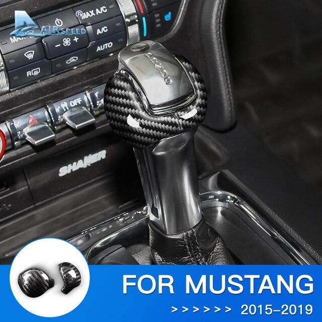 対気速度ためフォードマスタング炭素繊維ステッカーフォードマスタングアクセサリー 2015 2016 2017 2018 2019 インテリアギアシフトノブカバー