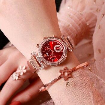 Reloj Mujer Watch Women Rhinestone Stainless Steel Mesh Belt Quartz  Ladies Watch Fashion Casual Luxury Brand Diamond Watch