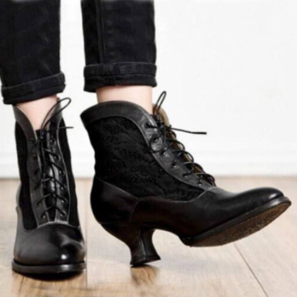 Fashion Women Autumn Ankle Boots Solid Flock Lace-Up Vintage Short Boots Pointed Toe Winter Shoes Plus Size Ladies Shoes #913