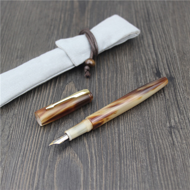 HERO YLJ Exclusive Handmade Fountain Pen Natural Ox Horn Fine Nib 0.5mm Unique Gift Customization Office Business Collection