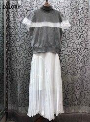 Set 2020 di Autunno della Molla Abito Lungo Set Delle Signore delle donne Dolcevita Lavorato A Maglia Pullover + Senza Maniche Bianco Blu Scuro Lungo Maxi vestito di Vestito