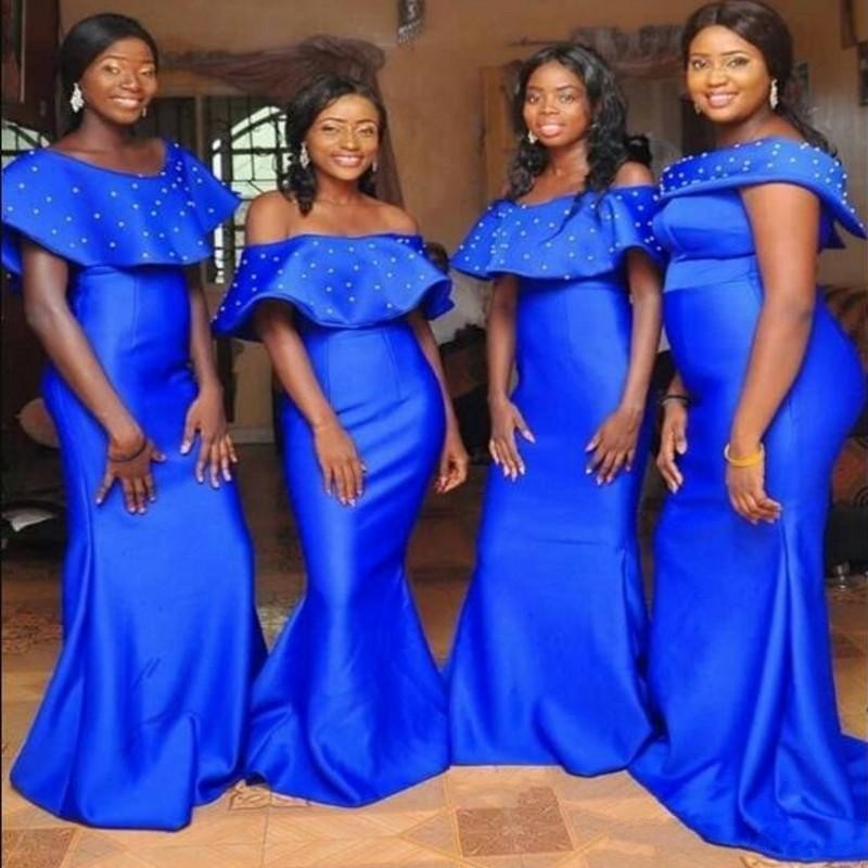 Royal Blue Mermaid Bridesmaids Dresses Long Off Shoulder Satin Maid Of The Honor Gowns Beads Plus Size Wedding Guest Dress