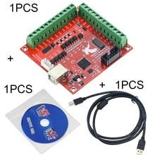 Placa de fuga mach3 3 + 1 peça de fio usb + 1 peça cd cnc usb pçs/set khz, 3 100 1 peça placa de driver de controlador de movimento com interface de 4 eixos
