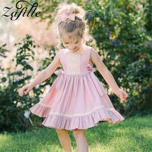 ZAFILLE Sleeveless Girls Dress Pink Baby Girl Clothes 2020 Bandage Toddler Summer Dress Cotton Kids Clothes Cute Girls Clothing zafille baby girls clothes soft summer dress for girl sleeveless kids clothes toddler patchwork girl dress cotton girls clothing