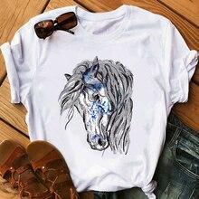 Horse Head Print Women T Shirt Aesthetic Art T Shirt Female Summer Casual Tshirt Harajuku Short Sleeve Streetwear Tshir