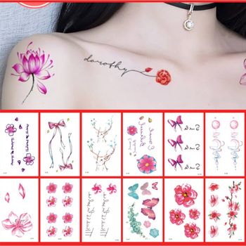 цена на 30 pcs Sexy Lips Leaf Black Cartoon Temporary Tattoo Cute Star Tattoo Sticker Love Women Body Finger Art Waterproof  Tatoo Kids
