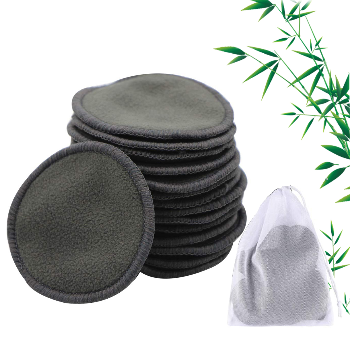10/16/20Pcs Reusable Bamboo Cotton Make Up Remover Pads Washable Triple Layer Facial Skin Care Wipe Pads Cleaning Pad With Bag