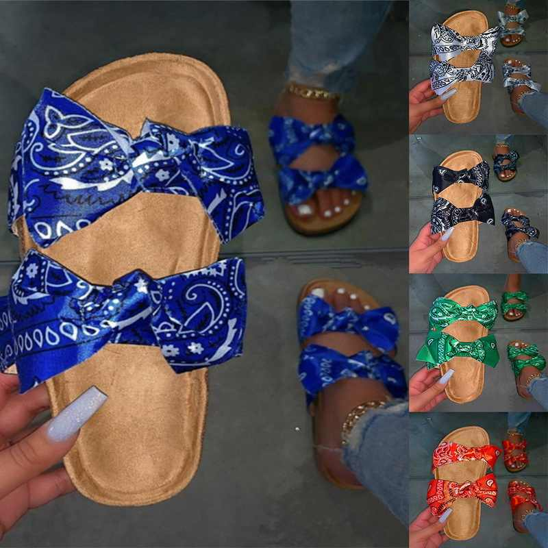 Năm 2020 Nữ Nơ-Đính Nơ Phẳng Dép Đi Biển Trượt Dễ Thương Nơ Lười Cho Mùa Hè Giày Sandal Mới Hở Đáy Dày đi Biển Ngày Lễ