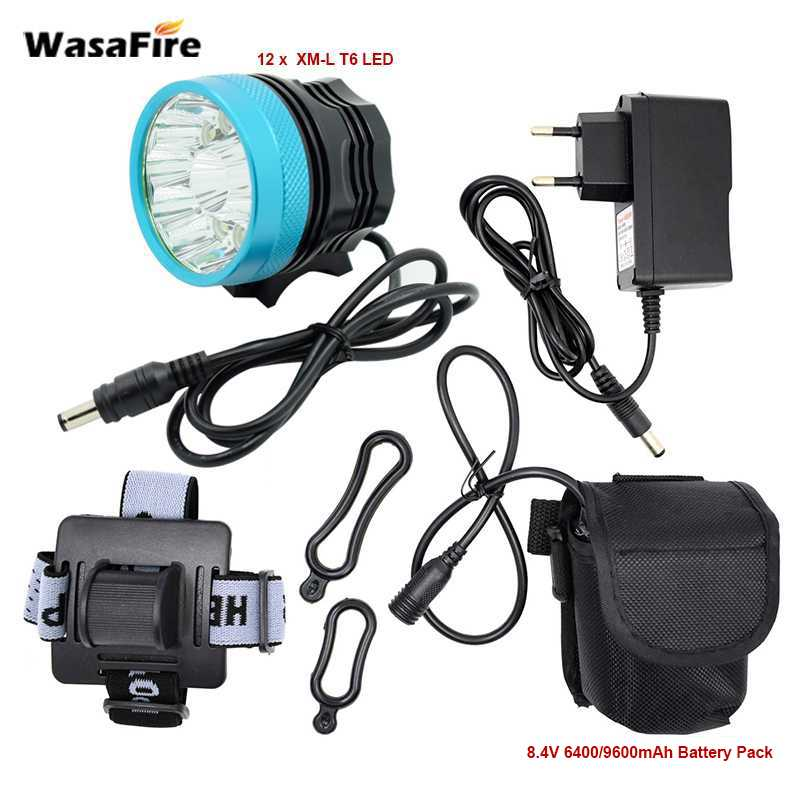 <font><b>20000</b></font> lm <font><b>12</b></font>* XML-T6 LED Bicycle Front Light 2 in 1 Cycling Bike Headlight Night Riding Lamp + 18650 Battery Pack + Charger image