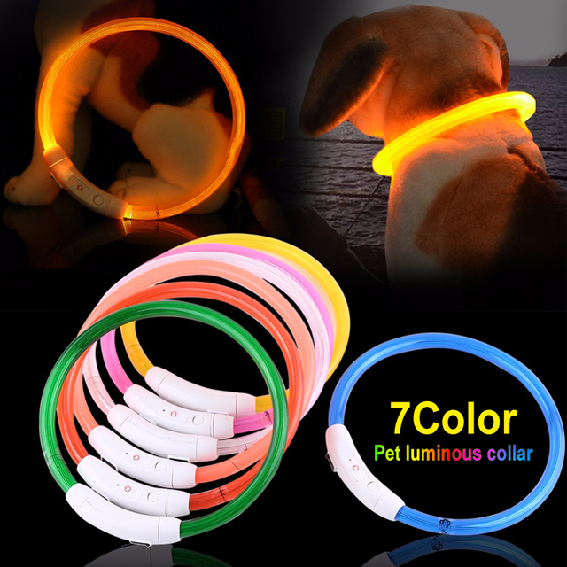 Rechargeable LED Dog Collar with USB 7 Bright Colors  1