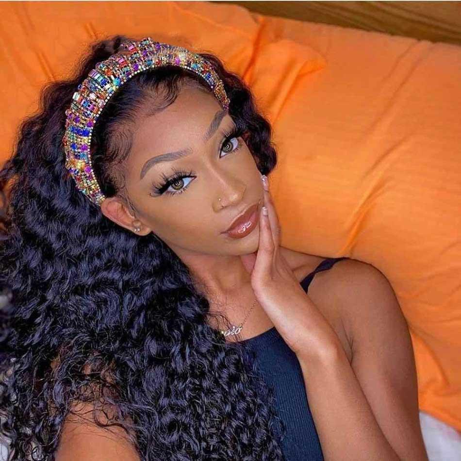 Beaudiva Curly Hair Headband Wig  Easy Half Wig  Kinky Curly Hair Headband Wig Natural Hair Full Machine Wig 1