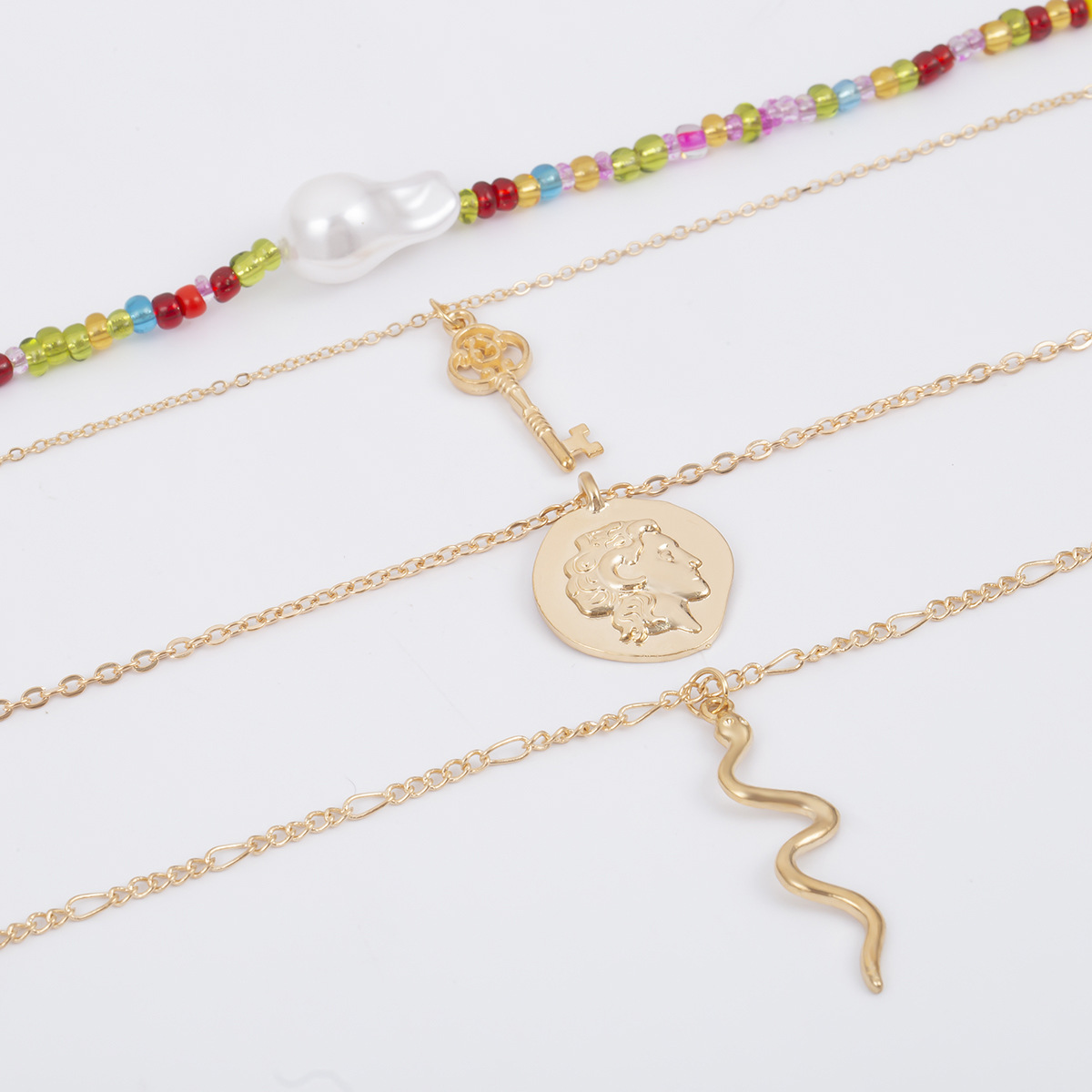 2019 New Cute Gold Color Multilayer Snake Pendant Necklace Female Bohemian Imiation Pearl Beads Choker Necklaces Women Collares in Pendant Necklaces from Jewelry Accessories