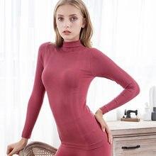 FINETOO – pyjama à col roulé pour femme, ensemble en coton, couleur unie, Slim, Long, confort, hiver