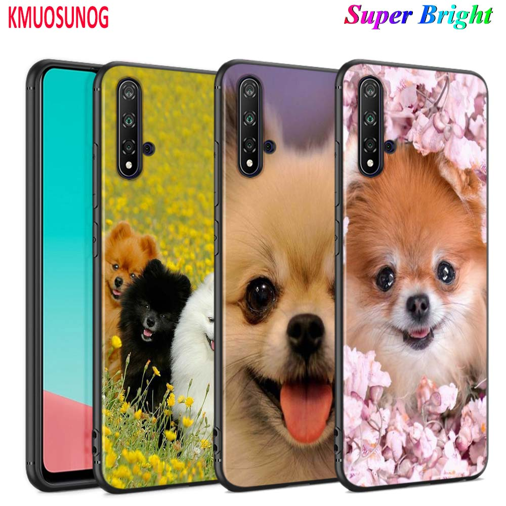 Black Cover Cute Pomeranian dog for <font><b>Huawei</b></font> Nova 5 3i <font><b>P</b></font> <font><b>Smart</b></font> Z Plus <font><b>2019</b></font> P30 P20 Pro P10 P9 P8 Lite Plus <font><b>Phone</b></font> <font><b>Case</b></font> image