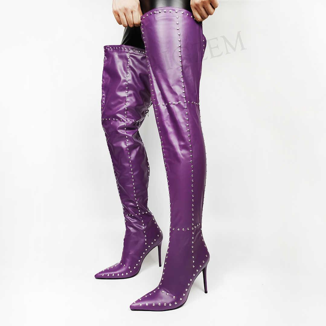BERZIMER Thời Trang Nữ Đùi Cao Cấp Giày Cao Gót Quá Đầu Gối Giày Cổ Cao Đính Gợi Cảm Đảng Giày Người Phụ Nữ Lớn Size 43 44 45 46 47