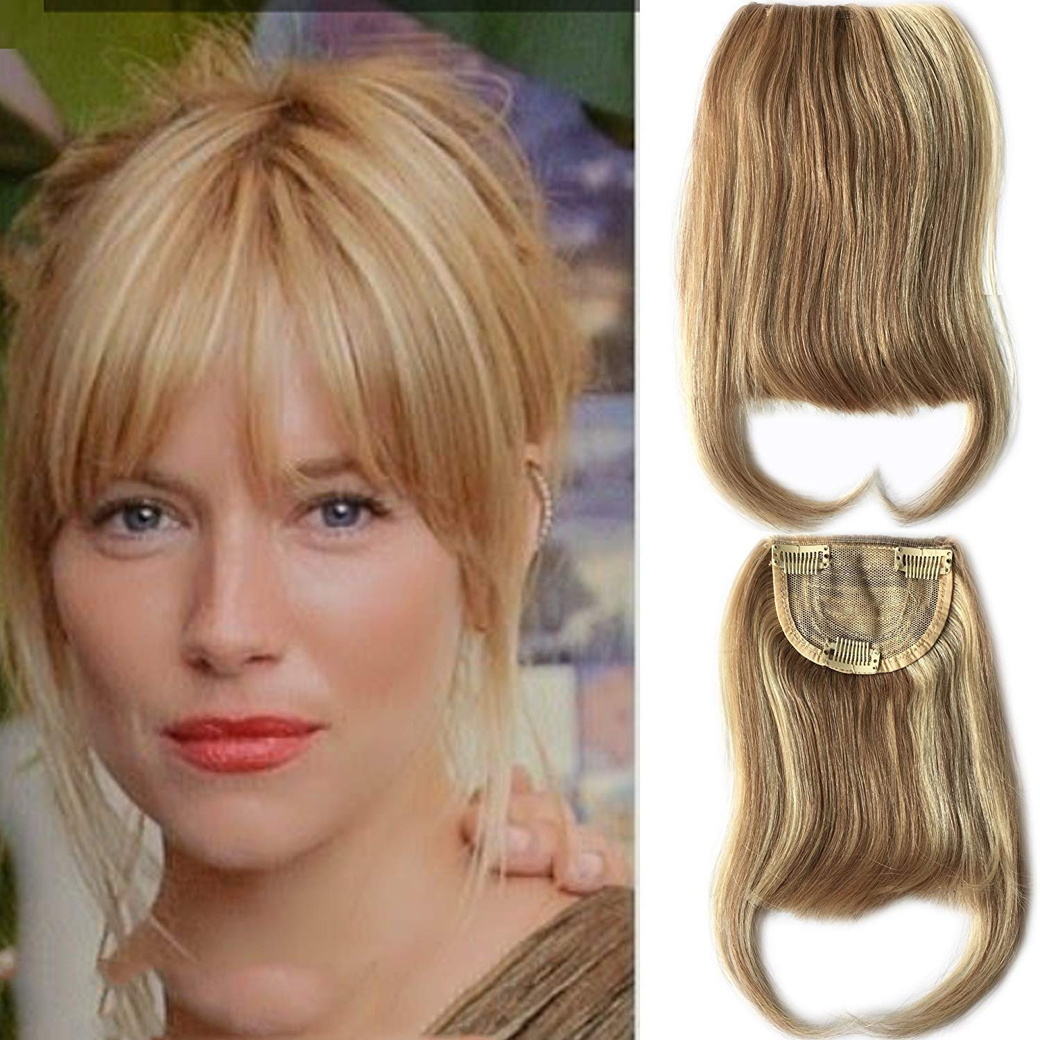 27P613 Blonde Mixed Brown Color Brazilian Human Hair Clip-in Hair Bangs Full Fringe Short Straight Hair Extension For Women 6-8