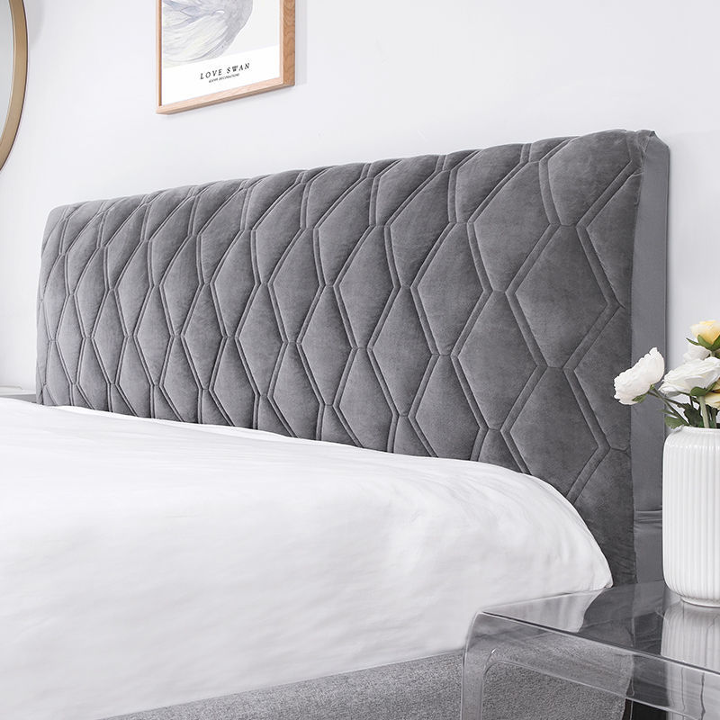 All-inclusive Super Soft Smooth Quilted Head Cover Thicken Velvet Headboard Cover Solid Color Bed Back Dust Protector Cover