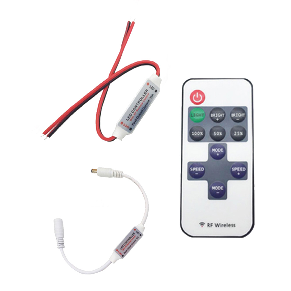 DC12V Led Controller Mini Dimmer 12A Wireless RF Remote To Control Single Color Strip Lighting For 3528 5050 Led Strip
