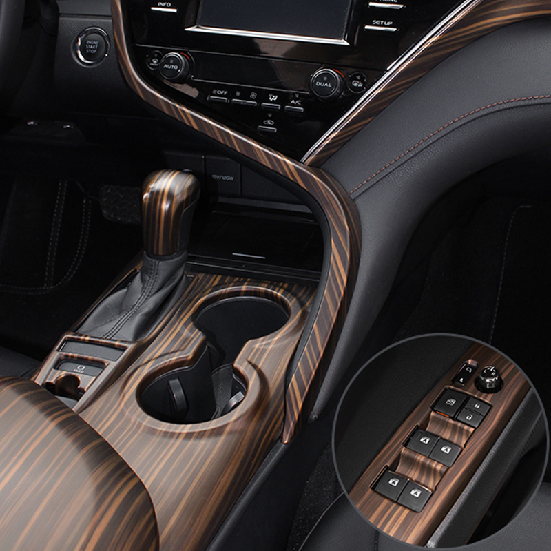 QHCP Steering Wheel Button Frame Gear Head Knob Cover Central Strip Interior Stickers ABS Golden Wood For Toyota Camry 2018 2019