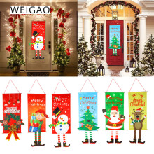 WEIGAO Christmas Decorations For Home Door Decor Christmas Hanging Ornaments Window Hanging Cloth Christmas Gifts New Year noel