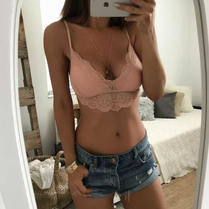 2020 Ladies Women Sexy Sleeveless Crop Top Lace Sheer Lace Bra See-through Hollow Out Bralette Bralette
