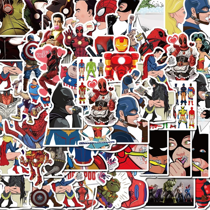 50 Pcs Mixed Not Repeating Marvel Cartoon Hero Stickers Car Bike Travel Luggage Phone Guitar Laptop Waterproof Joke Toy Sticker