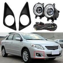 Zwart Rechts/Links Mistlamp Lamp + Grille Cover Bezel + Draden Fit Voor Corolla 2007 2008 2009 2010 Snelle Verzending
