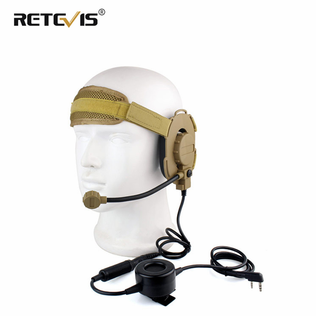 New HD03 Z Tactical Bowman Elite II Headset With Waterproof PTT Right/Left Ear For Kenwood 2 Pin Two-way Radios Yellow C2052Y