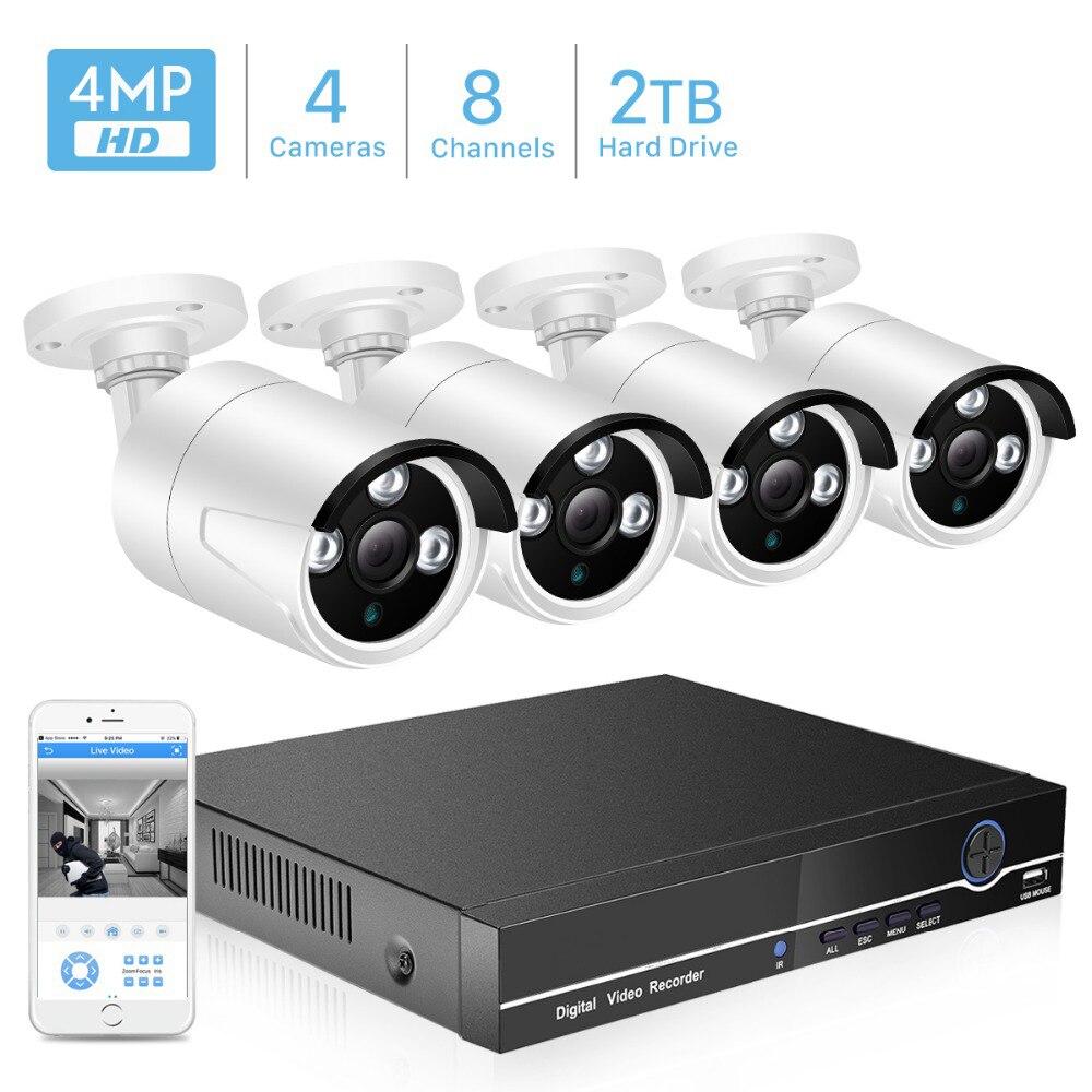 BESDER 8CH POE Kit de système de caméra de sécurité H.265 POE caméra IP 4MP IR extérieur étanche maison CCTV vidéo Surveillance NVR Kit P2