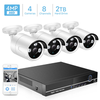 BESDER 8CH POE Security Camera System Kit H.265 POE IP Camera 4MP IR Outdoor Waterproof Home CCTV Video Surveillance NVR Kit P2