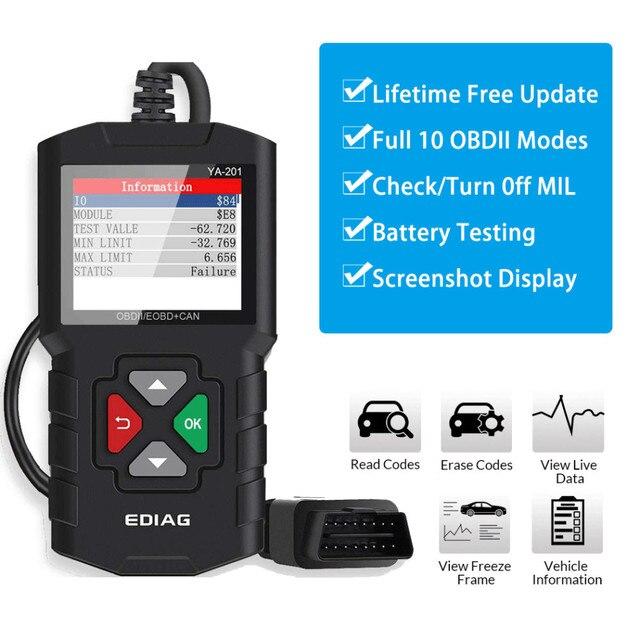 OBDII Scanner lettore di codice strumento di scansione per veicoli Auto Scanner diagnostico per Auto rilevatore di codici di errore del motore per Bmw Ford VW KIA