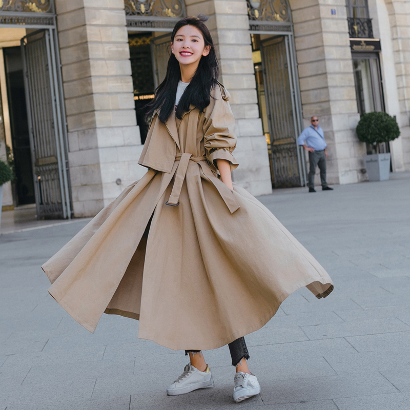 Fashion Korean Style Women Trench Coat with Belt Office Lady Duster Coat Loose Cloak X-Long Outerwear Clothes Spring Autumn