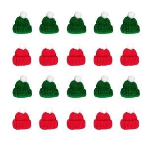 20pcs Mini Woollen Hat Decoration Santa Colorful Handwork Woollen Durable Knitted Hat Handwork Accessories Clothes Decoration