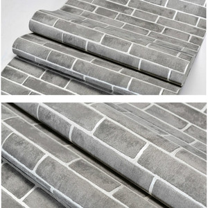 Image 3 - Grey Modern Vintage Textured Brick Wall Paper Wallpaper Roll Bedroom Living Room Home Decoration, Orange,White,Blue