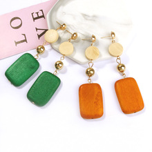 New Arrivals Fashion Personality Green Jewelry Wooden Geometric Square Round Connection Long Statement Drop Earrings Women
