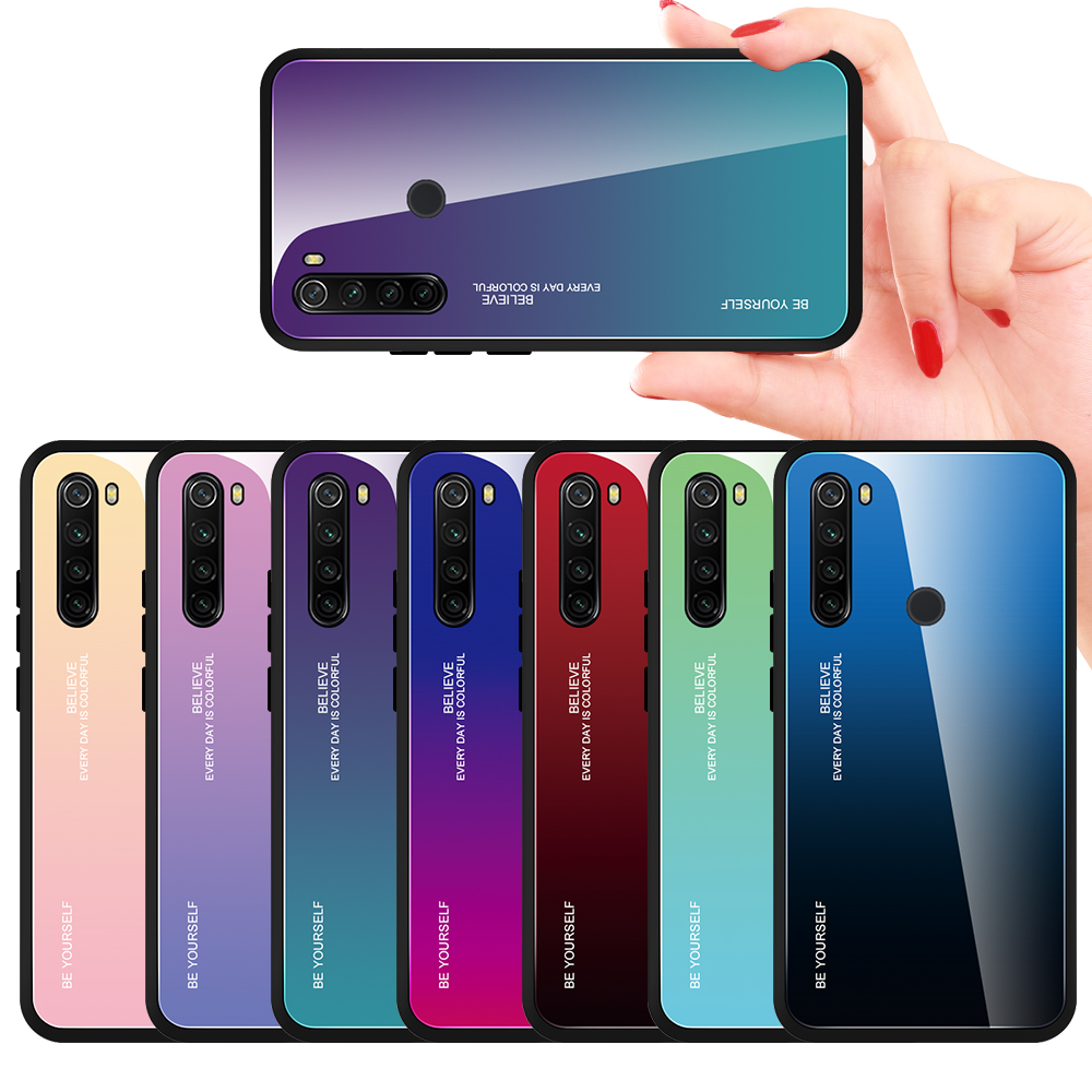 Mirror Gradient Tempered Glass Case For Xiaomi Redmi Note 8 8T 7 6Pro 7A 8A K20 Pro Protective Glass Cover For Redmi Note 9 Pro(China)