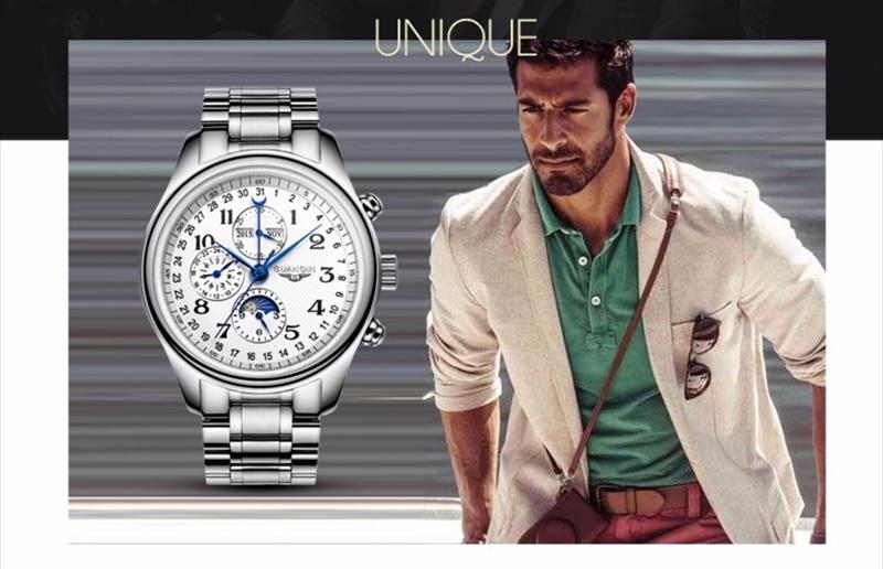 Hbb42df9b9c7b4a8bb2814b5c72eed4f3J GUANQIN Relogio Masculino Automatic Mechanical Men Watches Waterproof Calendar Moon Leather Wristwatch otomatik erkek saat