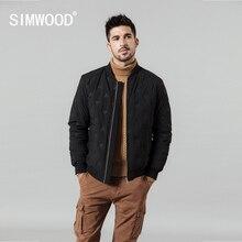 SIMWOOD 2020 春冬の新スタンド襟 80% ホワイトダックダウンコートエンボス加工ショート薄型爆撃機野球ジャケット SI980632