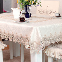 Rectangle White Lace Hollow Tablecloth Beige Elegant Polyester Table Cover Embroidered Disposable Hotel Cloth Mantel Mesa