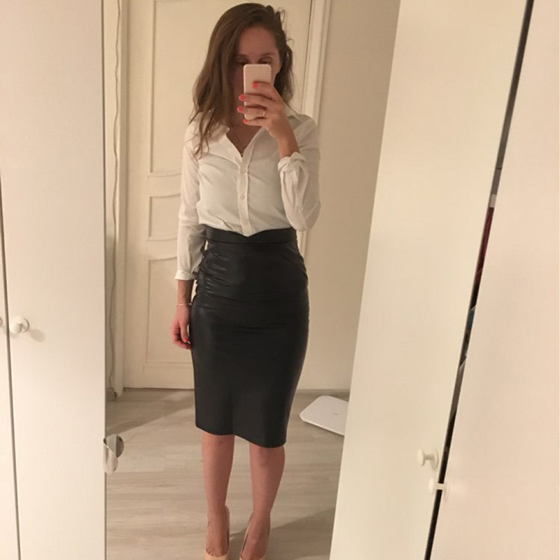 Women Leather Skirts 2019 Spring Autumn High Waist Stretchy Skinny Pencil Skirt Knee Length Slim Party Pencil Skirts