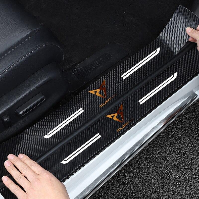 Новинка 4 шт. протектор порога из углеродного волокна кожаные виниловые наклейки для Болеро Сальса Танго купра только Cupra R автомобильные ак...
