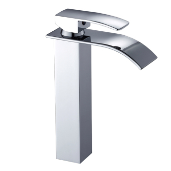 Bathroom Basin Faucet Deck Mount Waterfall Bathroom Faucet Vanity Vessel Sinks Mixer Tap Single Handle Cold And Hot Water Tap 12