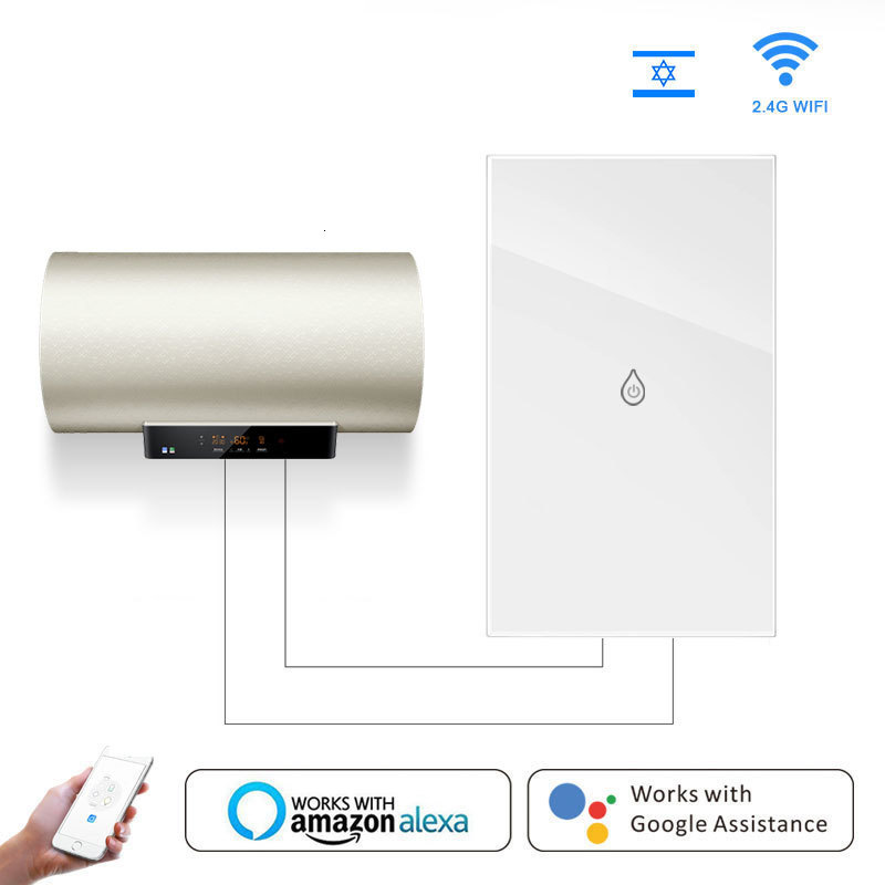 Wi Fi Boiler Glass Panel Switch Water Heater Smart Life Tuya App Remote Control Amazon Alexa Echo Google Home Voice Control