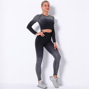 Women Sports Set 2 Pcs Workout Women Seamless Gym Sets Sportswear Fitness Clothes For Women Gym Leggings + Crop tops Sports Set