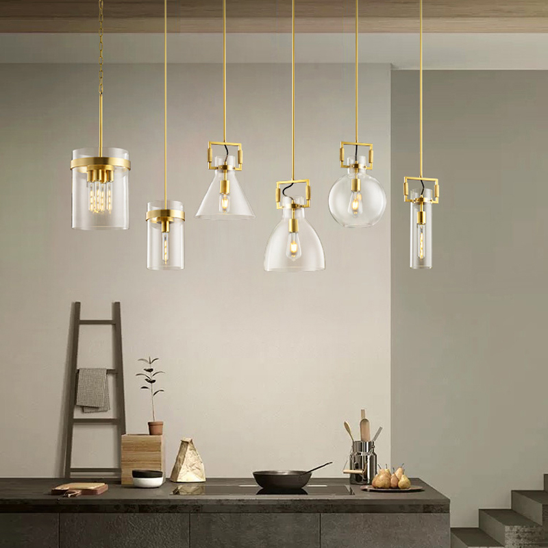 LED Luxury Postmodern Bar Chandelier American Simple All Copper Dining Room Lamp Designer Glass Bedroom Bedside Lamp