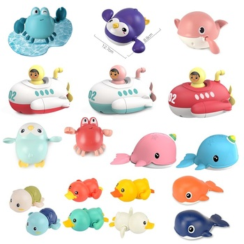 Baby Swimming Pool Shower Bath toys Cute Animal Duck Wind Up Chain Bathing Clockwork Bathroom Game Water Beach Toys for Kid 040L недорого