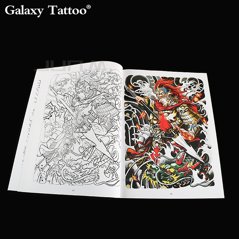 A4 Big Pattern Painting Tattoo Book Color Sketch Contrast Color Myth Legend Character Story Image Human Tattoo Art 42 Pages