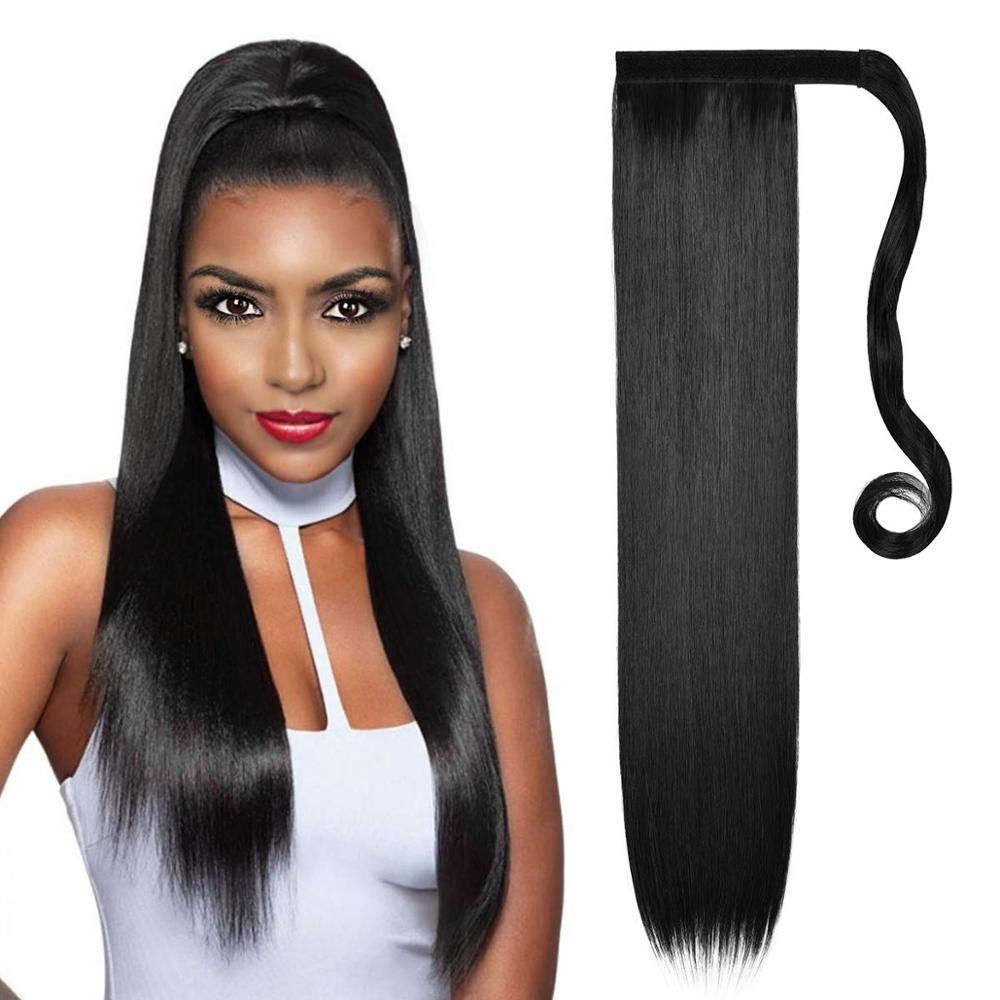 Synthetic Hair Fiber Heat-Resistant Straight Ponytail Hair Extension With Ponytail Extension Extended Black Brown Headwear