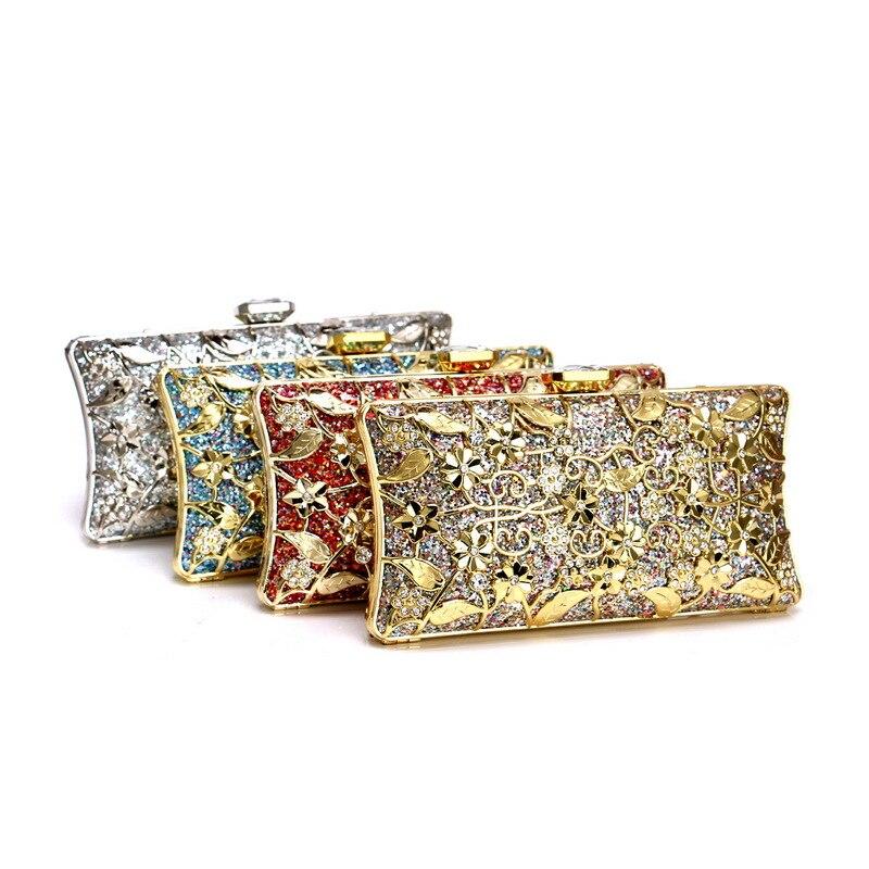 2019 mariée en métal embrayage Floral sac femmes cristal or sac de soirée de mariage sacs à main sac à main dame diamant strass embrayages - 2