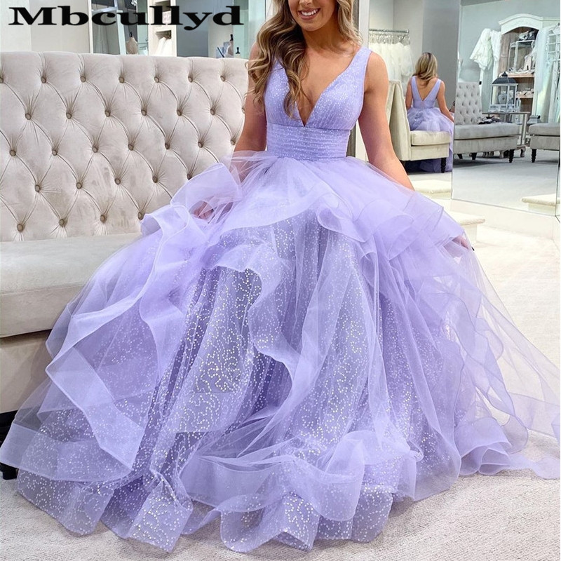 Mbcullyd Puffy Tulle Long Dresses For Prom 2019 Sexy V Neck Rochii Imported Evening Dress Charming Purple Robe De Soiree Rose